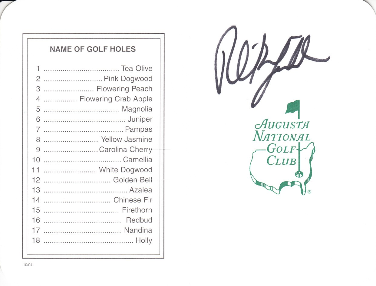 37fa5d0edc6 Phil Mickelson autographed Augusta National Masters scorecard
