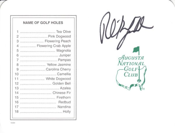 Phil Mickelson autographed Augusta National Masters scorecard (JSA)