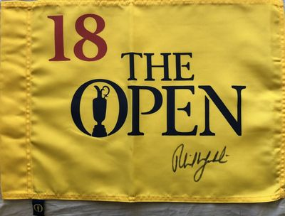 Phil Mickelson autographed British Open undated golf pin flag