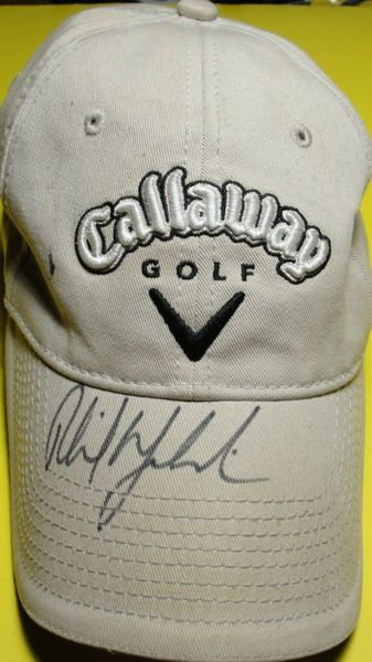 Phil Mickelson autographed Callaway Golf beige cap or hat