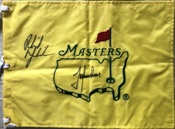 Phil Mickelson and Trevor Immelman autographed Masters undated golf pin flag
