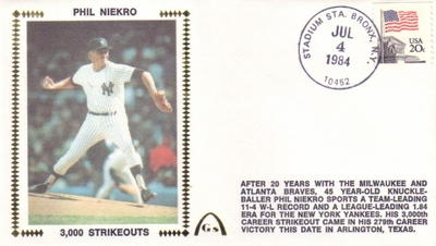 Phil Niekro 3000 Strikeouts 1984 Gateway commemorative cachet