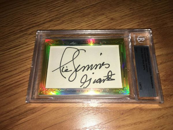 Phil Simms and Ottis (O.J.) Anderson 2014 Leaf Masterpiece Cut Signature certified autograph card 1/1 JSA