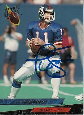 Phil Simms autographed New York Giants 1993 Ultra card