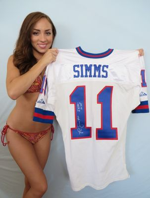 Phil Simms autographed New York Giants 1993 authentic Apex game model jersey inscribed S.B. XXI M.V.P.