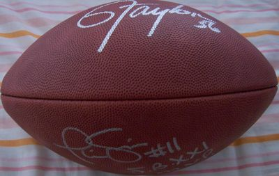 Phil Simms and Lawrence Taylor autographed Wilson NFL game model leather football