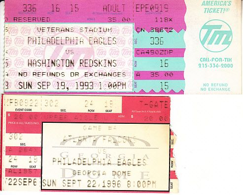 Philadelphia Eagles lot of 2 vintage 1990s ticket stubs (Randall Cunningham Ricky Watters)