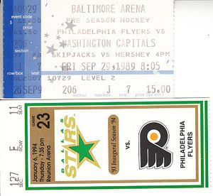 Philadelphia Flyers lot of 2 vintage road game ticket stubs