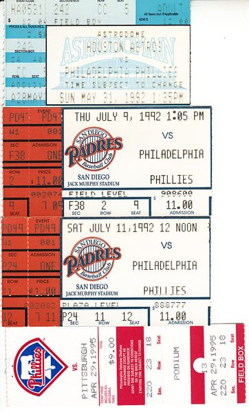 Philadelphia Phillies lot of 4 vintage 1990s ticket stubs