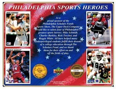 Philadelphia Sports Heroes 1991 Upper Deck card sheet (Charles Barkley Mike Schmidt Reggie White)