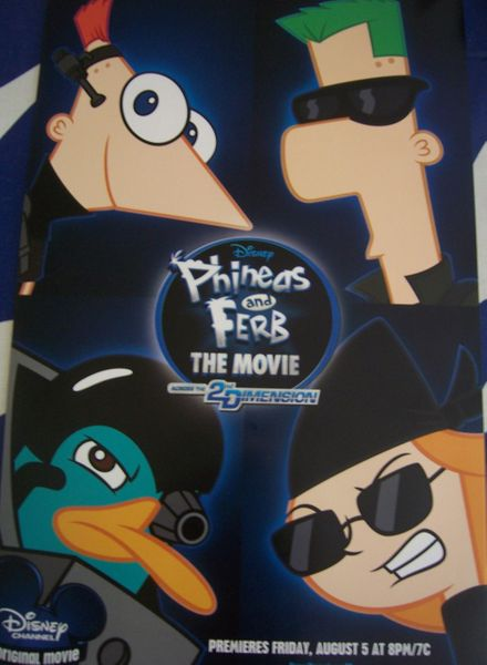 Phineas and Ferb Across the 2nd Dimension movie 2011 Comic-Con promo poster MINT