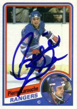 Pierre Larouche autographed New York Rangers 1984-85 Topps card