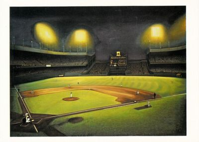 Polo Grounds baseball artwork postcard