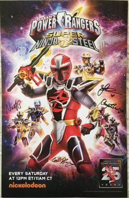 Power Rangers Super Ninja Steel cast autographed 2018 Comic-Con poster (Peter Sudarso)