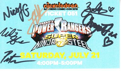 Power Rangers Super Ninja Steel cast autographed 2018 Comic-Con signing ticket (Peter Sudarso)