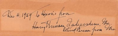 President Harry Truman autograph or cut signature dated 1959 and inscribed (JSA Letter of Authenticity)