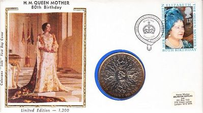 Queen Mother 80th Birthday 1980 Great Britain First Day Cover with Crown Coin (Colorano Silk Cachet limited edition 1200)