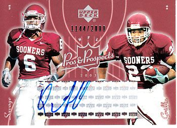 Quentin Griffin certified autograph Oklahoma Sooners 2003 Upper Deck Pros & Prospects card #/2000
