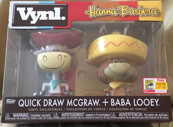 Quick Draw McGraw and Baba Looey Funko Vynl with 2018 Comic-Con exclusive sticker