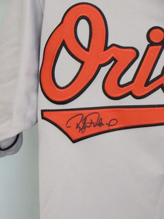 Rafael Palmeiro autographed Baltimore Orioles authentic Majestic road gray jersey