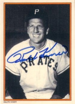 Ralph Kiner autographed Pittsburgh Pirates 1985 Topps Circle K All Time Home Run Kings card