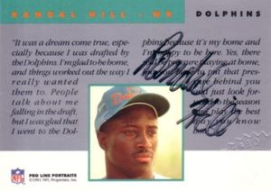 Randal Hill Miami Dolphins certified autograph 1991 Pro Line card