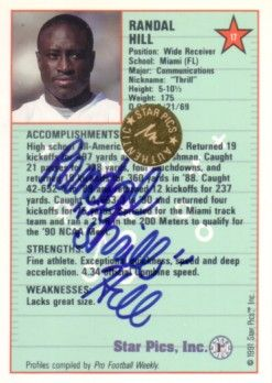 Randal Hill Miami Hurricanes certified autograph 1991 Star Pics card