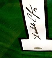 Randall Cunningham autographed Philadelphia Eagles authentic throwback stitched green jersey framed (TRISTAR)