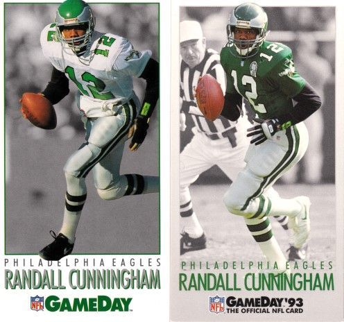 Randall Cunningham Philadelphia Eagles 1992 and 1993 NFL GameDay cards