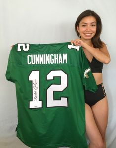 Randall Cunningham autographed Philadelphia Eagles authentic throwback stitched green jersey (TRISTAR)