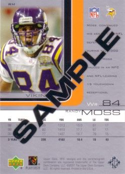 Randy Moss 2001 SPx promo or sample card