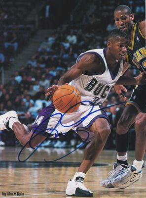 Ray Allen autographed Milwaukee Bucks full page basketball magazine photo