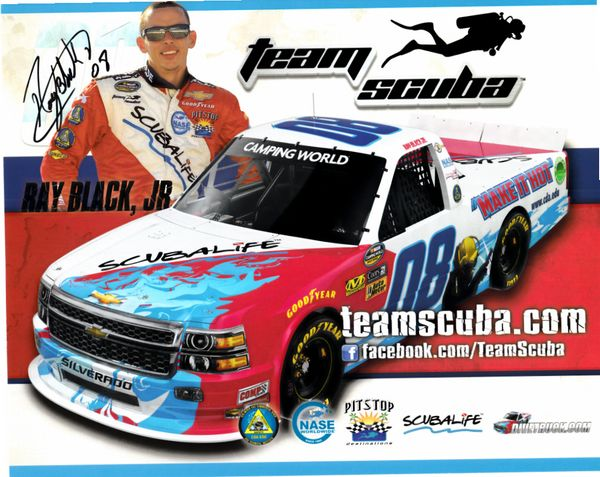 Ray Black Jr. autographed Team Scuba NASCAR Camping World Truck Series 8x10 photo card