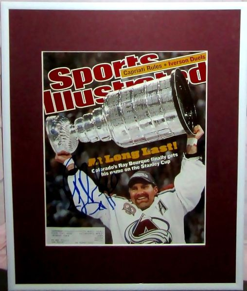 Ray Bourque autographed Colorado Avalanche 2001 Stanley Cup Sports Illustrated cover matted and framed