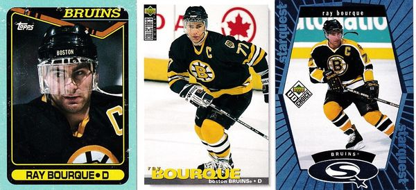 Ray Bourque Boston Bruins lot of 3 cards 1990-91 Topps box bottom 1998-99 Collector's Choice Starquest insert