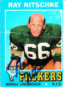 Ray Nitschke autographed Green Bay Packers 1971 Topps card