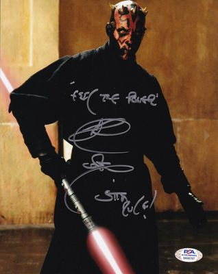 Ray Park autographed Star Wars Episode I Darth Maul 8x10 photo inscribed Feel the Force (PSA/DNA witnessed)