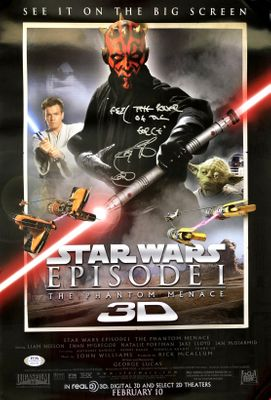 Ray Park autographed Star Wars Phantom Menace 3D movie poster inscribed FEEL THE POWER OF THE FORCE (PSA/DNA witnessed)