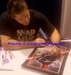 Ray Park autographed Star Wars Episode I The Phantom Menace 3D movie poster matted & framed (inscribed Darth Maul)