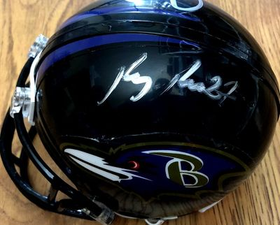 Ray Rice and Mark Clayton autographed Baltimore Ravens mini helmet