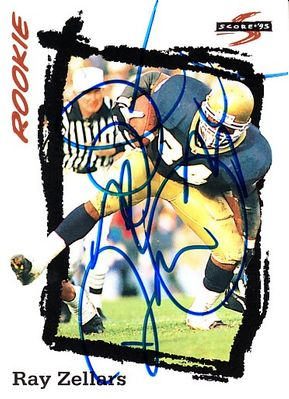 Ray Zellars autographed Notre Dame 1995 Score Rookie Card