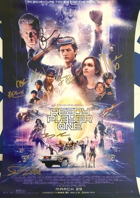 Ready Player One cast autographed mini movie poster (Ernest Cline Olivia Cooke Ben Mendelsohn Tye Sheridan Lena Waithe)