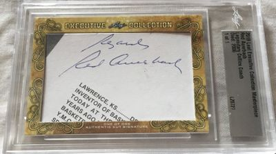 Red Auerbach 2018 Leaf Masterpiece Cut Signature certified autograph card 1/1 JSA