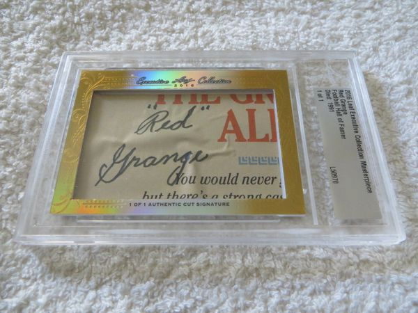 Red Grange 2016 Leaf Masterpiece Cut Signature certified autograph card 1/1 JSA