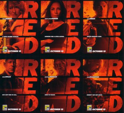 RED movie 2010 Comic-Con EXCLUSIVE 6 promo card set UNCUT Morgan Freeman Bruce Willis Karl Urban John Malkovich Helen Mirren