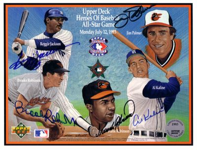 Reggie Jackson Al Kaline Jim Palmer Brooks Robinson Frank Robinson autographed 1993 All-Star Upper Deck card sheet