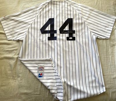 Reggie Jackson autographed New York Yankees authentic Russell Athletic home white jersey (JSA Witnessed)