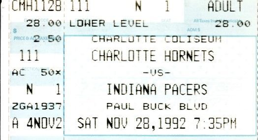 Reggie Miller career high 57 points 1992 Indiana Pacers at Hornets ticket stub