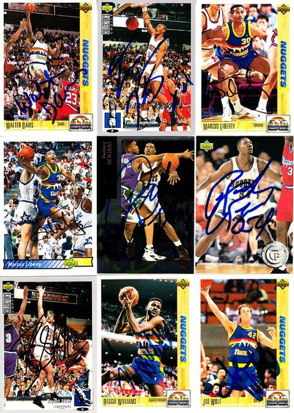 9 Denver Nuggets autographed 1990s cards (Walter Davis Bryant Stith Reggie Williams)