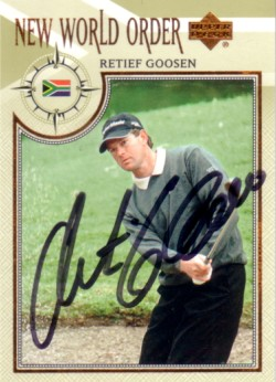 Retief Goosen autographed 2002 Upper Deck golf card